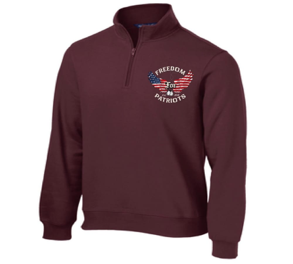 front of maroon freedom for patriots quarter zip