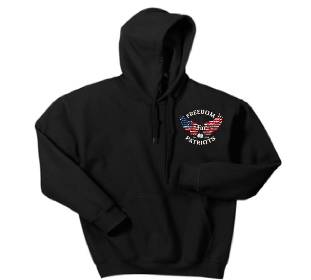 front of black freedom for patriots hoodie