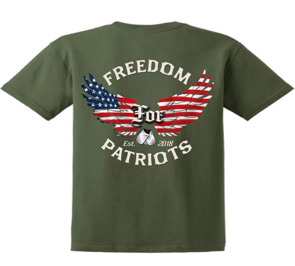back of green freedom for patriots tshirt