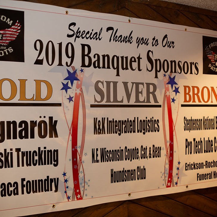 2019 Banquet Sponsors banner hanging on wall